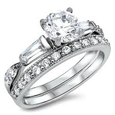 silver wedding ring sterling silver cz 1 5 carat brilliant and baguette cut wedding