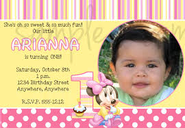 Birthday Invitation Cards For Kids First Birthday Minnie Mouse 1st Birthday Invitations Birthday Party Invitations