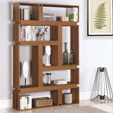 coaster bookcases modern geometric bookcase with light walnut