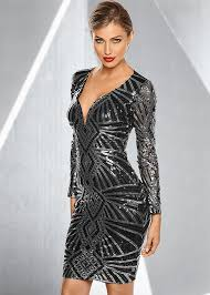 sequin dress all sequin dress in black silver venus