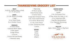 thanksgiving menu grocery list