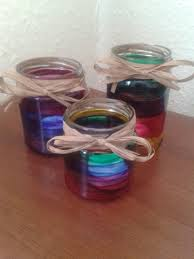 glass painted jam jar candle holders with raffia bows kids