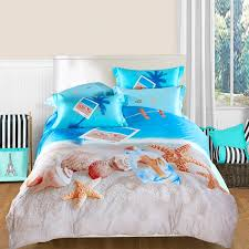 Beachy Comforters Sets Bedroom Ocean Blue Beige And Brown Seashell Starfish Print Marine