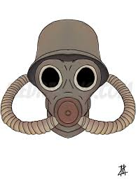 gas mask colored drawing