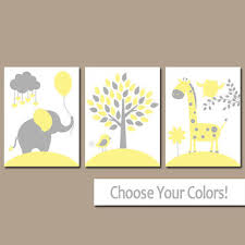 Yellow And Gray Nursery Decor Best Elephant Canvas For Nursery Products On Wanelo