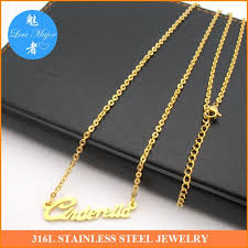 Gold Plated Necklace With Name Wholesale 2016 Classic Fashion 18k Gold Plated Stainless Steel