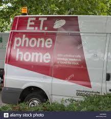 E T Phone Home Et Phone Home Advertisement On The Side Of A Virgin Media Van Stock