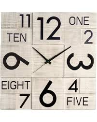 great deal on modern square wood wall clock white