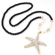 long black pendant necklace images Fashion black beads chain sea star necklaces pendants necklace jpg