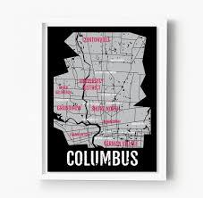 Portland Neighborhood Map Poster by Columbus Ohio Neighborhood City Map U2013 Sproutjam