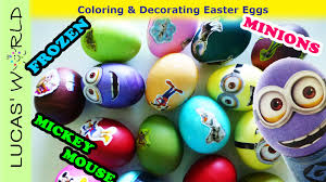 kids diy coloring easter eggs with minions disney frozen mickey