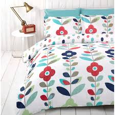 Red And Cream Duvet Cover Retro Floral Duvet Cover Reversible Bedding Cotton Rich Red Navy