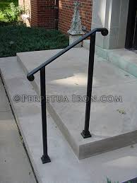 simple elegant wrought iron railing no pickets cast iron scroll
