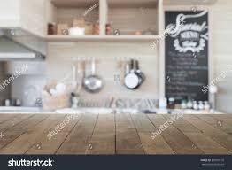 Kitchen Background Wood Table Top Blur Kitchen Background Stock Photo 383981176