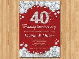 40th anniversary invitations 40th wedding anniversary invitation ruby wedding