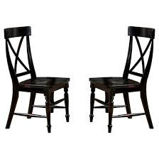 roanoke x back side chair wood black rubbed set of 2 imagio