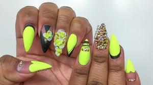 neon yellow u0026 black floral acrylic nails youtube