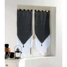 voilage cuisine pas cher 2 voilages bicolores pompons 120x60cm blanc noir achat vente