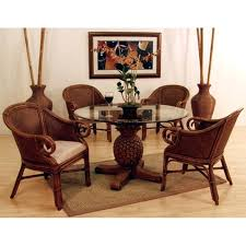 Round Glass Table Tops by Glass Top Wicker Dining Table U2013 Rhawker Design