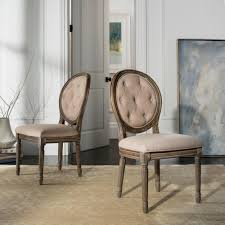 safavieh holloway beige tufted oval side chair set of 2 fox6235b