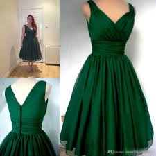 emerald green 1950s cocktail dress vintage tea length cheap under