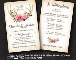 where to get wedding programs printed rustic wedding invitation set boho horns wedding invitation
