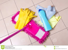 cleaning products on the tile floor royalty free stock photo