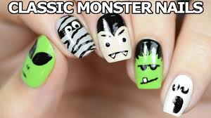 classic halloween monsters classic halloween monster nails youtube