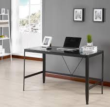 metal computer desks workstations black or white metal glass modern home office computer desk