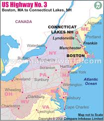 road map connecticut usa us route 3 map us highway 3 route from boston ma to pittsburg nh