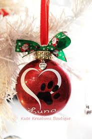 Dog Christmas Ornaments Heart Paw Print Ornament Personalized Ornaments Pet Name Paw Print
