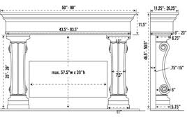 Standard Fireplace Dimensions by 1110 538 Cast Stone Fireplace Mantel Stone Mantle Mantels