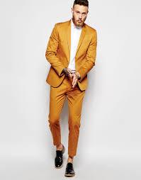 asos skinny suit in mustard cotton sateen accessories