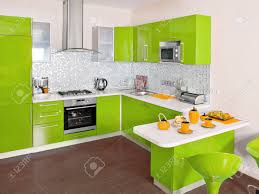 modern kitchen interior with green decoration stock photo picture