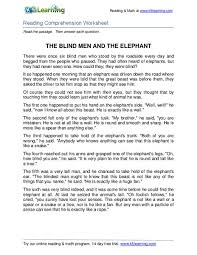 The Blind Men And The Elephant The Blind Men And The Elephant 3rd 4th Grade Worksheet Lesson