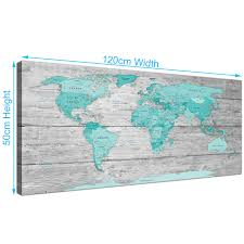 Map Of Al Large Teal Grey Map Of World Atlas Canvas Wall Art Print 120cm