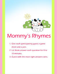 mommy u0027s rhymes baby shower game