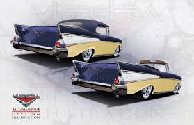 1957 chevy concept renderings for paint interior and wheels