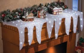 lighted icicle mantel runner indoor decoration polyester mantel