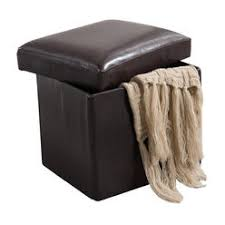 kings brand brown faux leather folding storage ottoman bench footstool