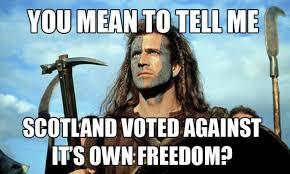Braveheart Freedom Meme - scotland voted against 9buz