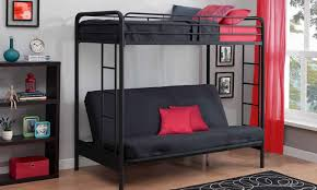 futon furniture creative black metal bunk beds with red futon