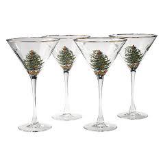 spode tree set of 4 martini glasses qvc