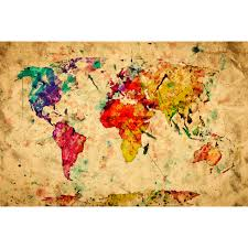 Large World Map Poster by Colorful Vintage World Map New Era Portfolio Touch Of Modern