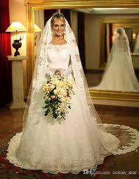 2017 royal lace wedding dresses elegant long sleeves bride dresses