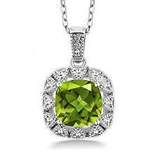 silver chain pendant necklace images 925 sterling silver green peridot white diamond jpg