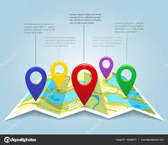 Map With Pins Map With Pin Markers Vector Illustration Cartography Location