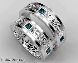 matching wedding rings for him and princess cut blue diamond matching wedding ring set vidar