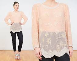 Blush Colored Blouse Sheer Blouse Etsy