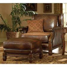 Overstuffed Leather Sofa Ottoman Mesmerizing Brown Leather Ottomans For Vintage Living